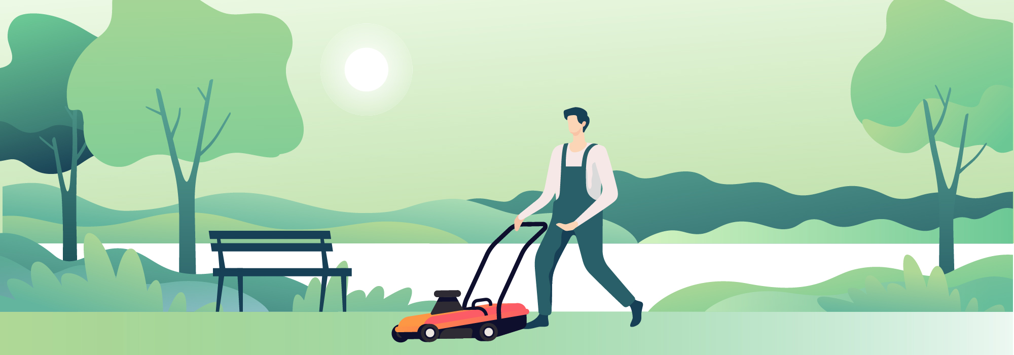 Illustrated scene of man cutting the grass